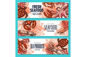 Seafood product sketch banner set for food design