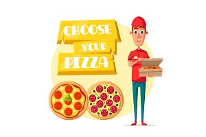 Pizza delivery man with open box cartoon icon