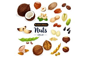 Nuts, seed, bean cartoon icon set for food design