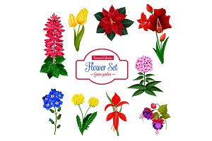 Flower, garden flowering plant isolated icon set