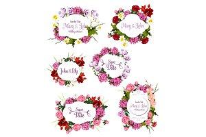 Wedding invitation Save the Date floral frame set