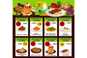 Bulgarian cuisine restaurant lunch menu template
