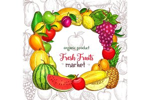 Fruit frame border for organic food market poster