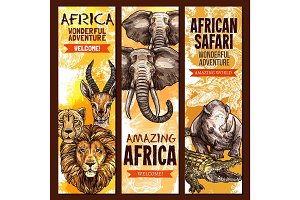 African safari outdoor adventure sketch banner set