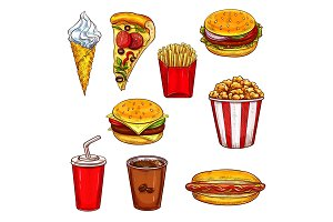 Fast food sketch set with burger, drink, dessert