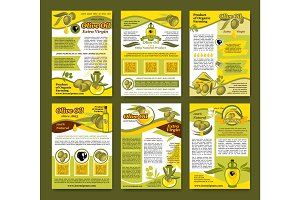 Olive oil organic farm product poster template set