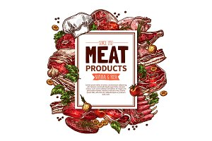 Fresh meat product sketch poster for food design