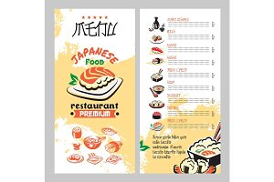 Japanese food for asian cuisine restaurant menu