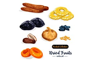 Dried fruit, natural sweets icon set, food design