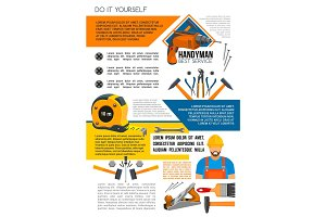 Handyman service poster of man with work tool