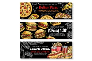 Fast food menu special offer chalkboard banner set