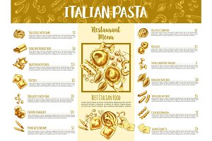 Italian pasta menu template for restaurant design
