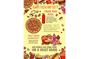 Fast food lunch dishes sketch poster template