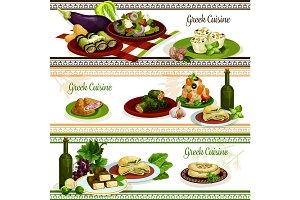 Greek cuisine national dishes, menu banner set