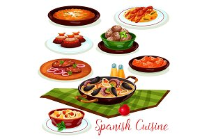 Spanish cuisine traditional dinner diches icon