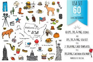 60 USA color hand drawn symbols!