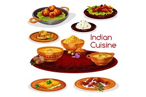 Indian cuisine thali dishes cartoon icon design