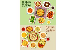 Italian cuisine pasta dishes icon set, food design