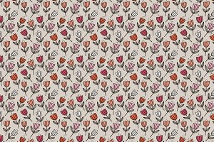 Vector Pattern Peach + Pink Floral