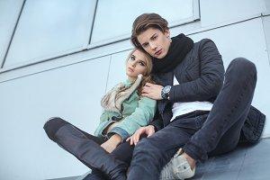 Fashionable couple outdoor