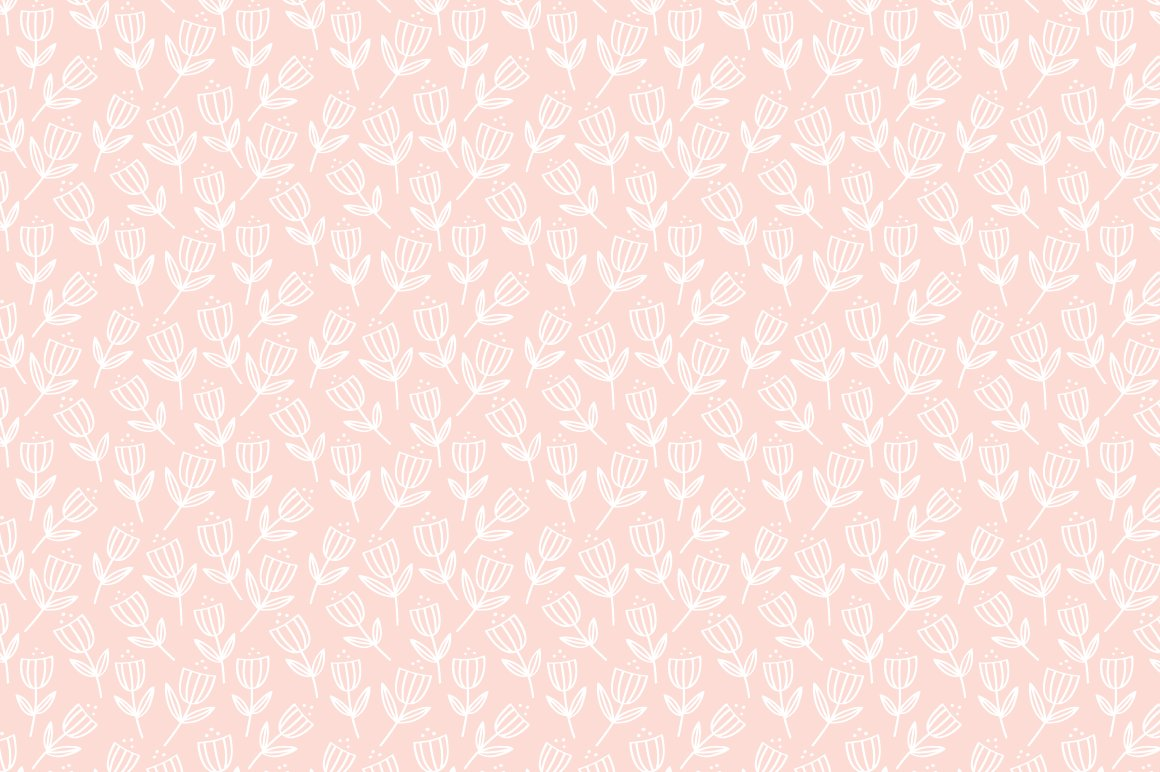 Vector Pattern Blush Pink Floral Custom Designed Graphic