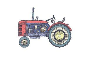 Vintage Tractor Illustration Pack