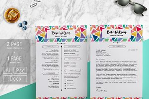 Watercolor Triangle Resume TemplateG
