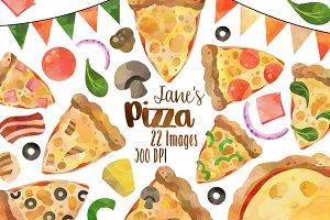 Watercolor Pizza Clipart