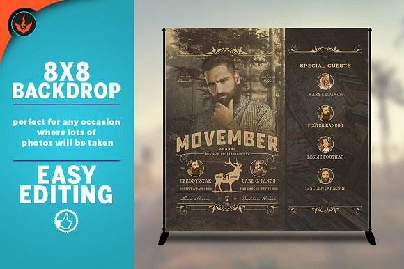 Movember 8x8 Event Backdrop Template