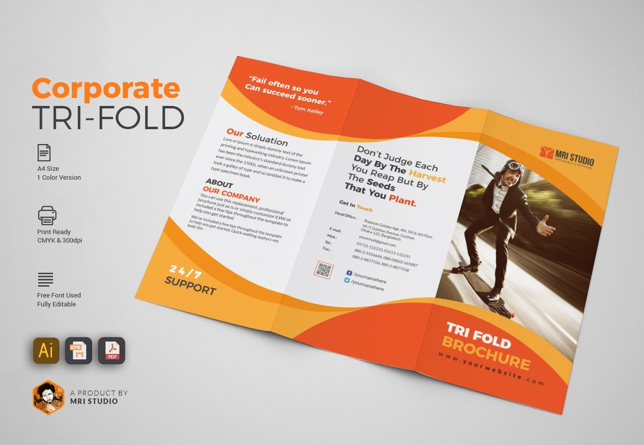 Simple tri fold brochures brochure templates creative for Simple tri fold brochure template