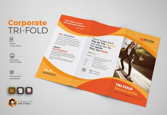 Simple TriFold Brochures Brochure Templates Creative Market - Simple brochure templates