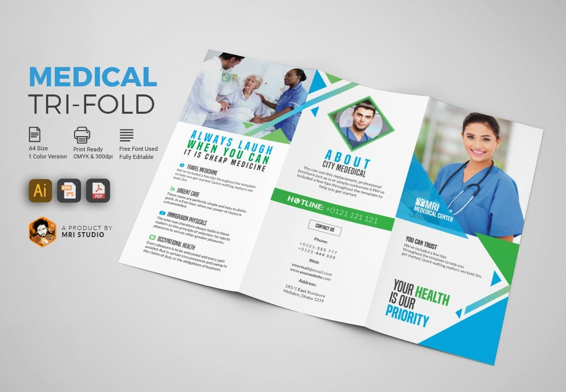 Simple medical tri fold brochure brochure templates for Medical office brochure templates