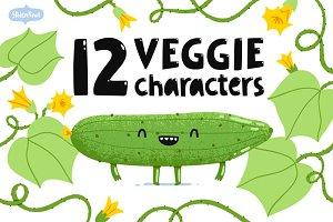 Veggie characters set