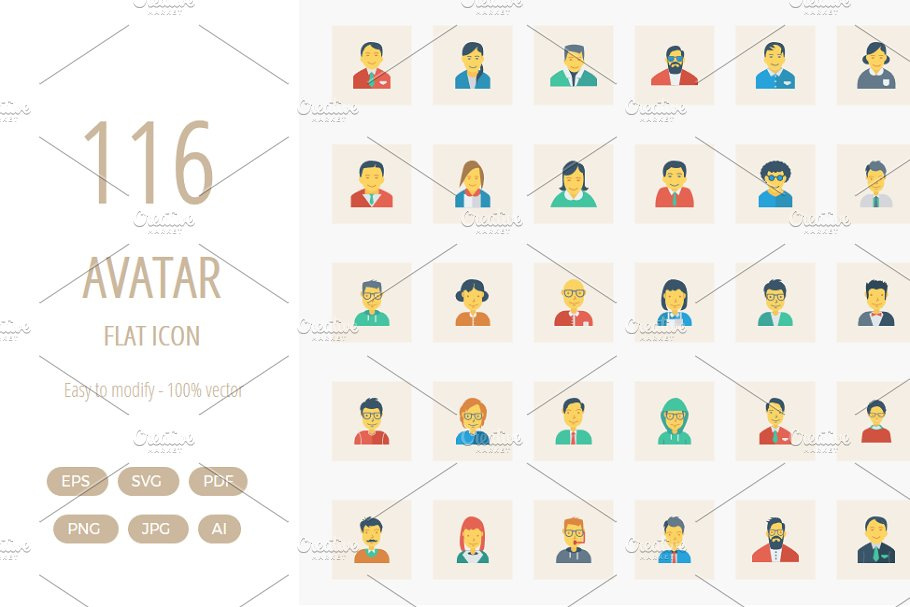 116 Avatar Flat Square icon in Icons - product preview 8