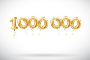Golden number Million balloon