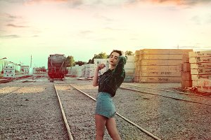 Model in Train Tracks
