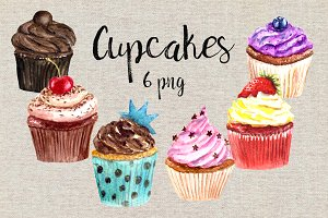 Watercolor Cupcakes Clip Art Set