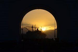Silhouette Ship in Arch