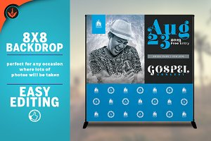 Gospel Concert 8x8 Backdrop Template