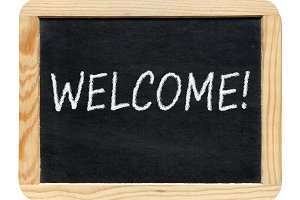 Blackboard with Welcome! phrase