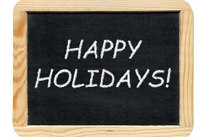 Board with Happy holidays! phrase