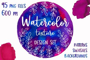 Watercolor Texture Design Set