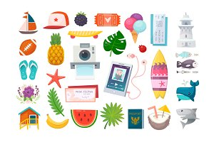 Summer vacations icons set