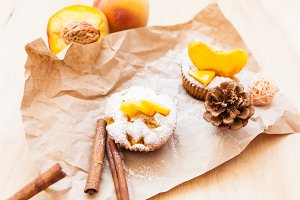 Fresh cupcakes with peach