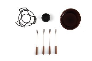 Fondue set isolated
