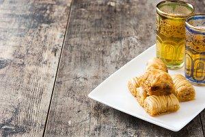 Turkish dessert baklava and tea