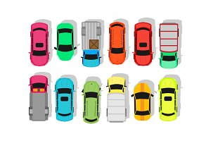 Multicolor Cars Isolated on White. City Parking
