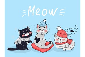 Funny Cats Vector Concept in Flat Design