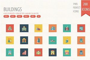 Budiling Flat Square icons