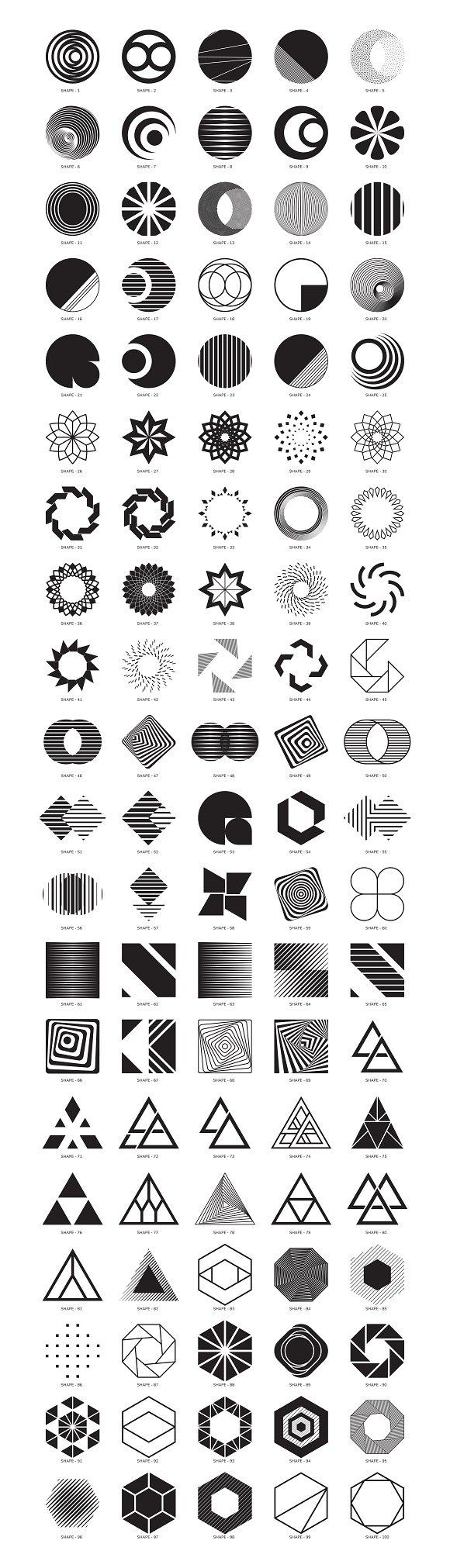 100 geometric shapes. Part 2 ~ Graphics ~ Creative Market